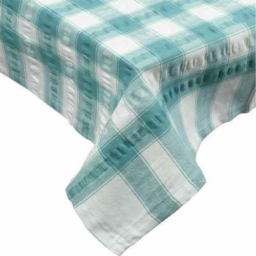 Teal Seersucker Checked Tablecloth 100 % Cotton
